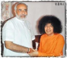 Bhagawan Sri Sathya Sai Baba with Narendra Modi  India's 16th Prime Minister