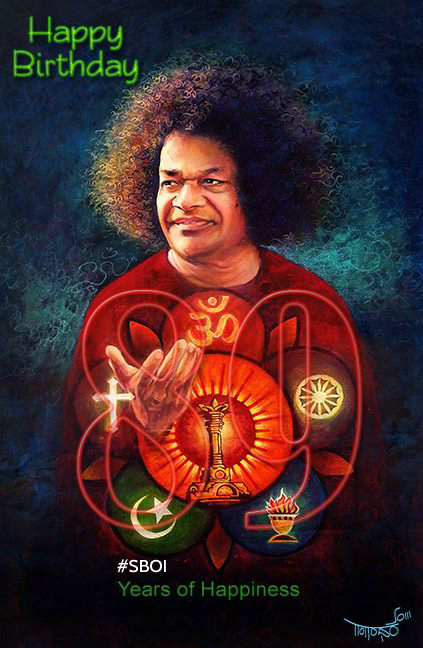 Beautiful art work shared with SAI RAM - created by professional artist Gangadhar Soma from Bangalore, India.
