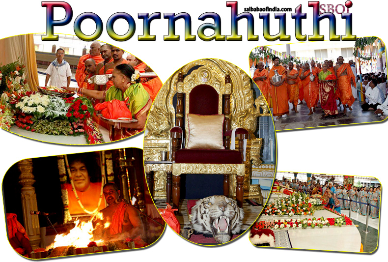 Maha Poornahuthi was offered into the sacred fire-pit in the Poornachandra Auditorium this morning marking the grand culmination of the week-long Veda Purusha Saptaha Jnana Yajna in Prasanthi Nilayam.