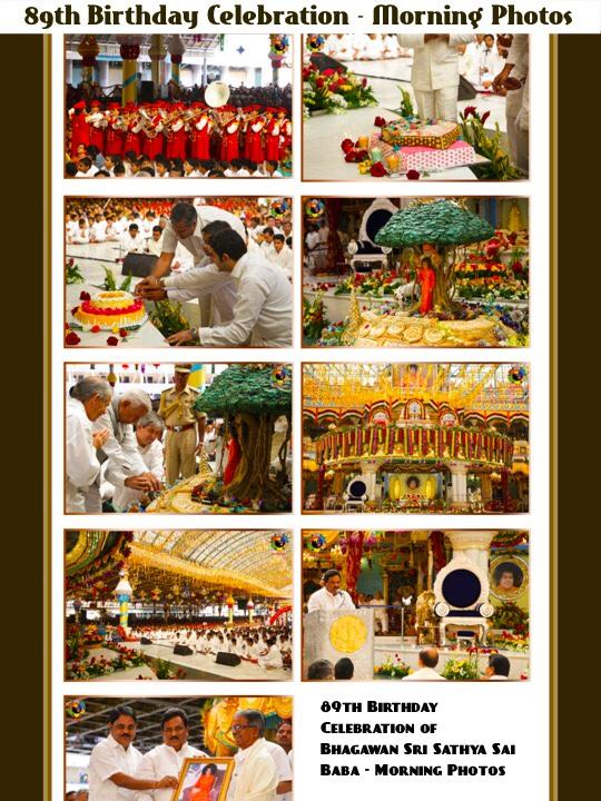 Sathya Sai Baba cumpleaños - Brillante 89o fotos de cumpleaños de la mañana