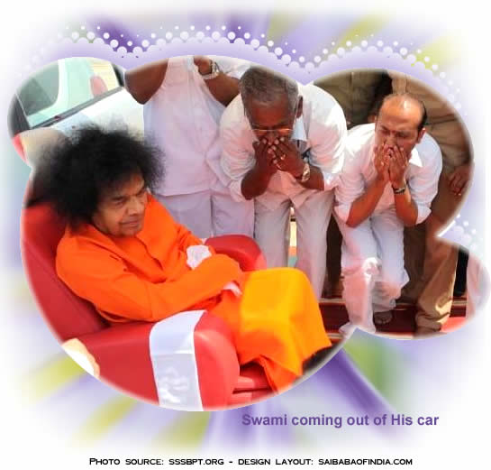 Swami coming out of His Car - Sri Sathya Sai Airport