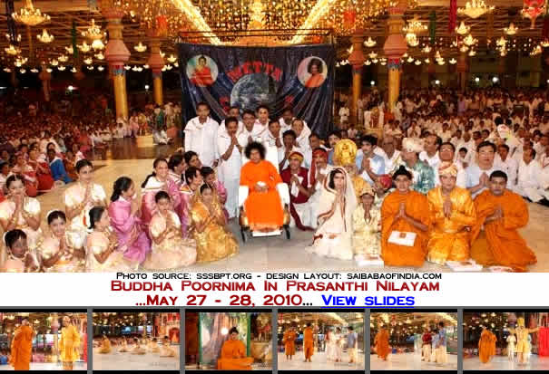 A group photo - bhagawan with the participants - buddha poornima 2010