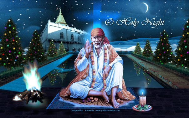 Shirdi Sai Baba Christmas Greeting Cards And Wallpapers