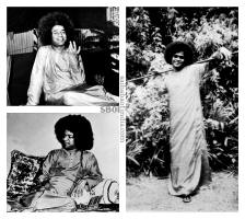 Old black & white photographs of Sri Sathya Sai Baba