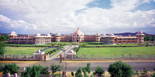 A view of the edifice that the Sri Sathya Sai Institute of Higher Medical Sciences in Puttaparthi is