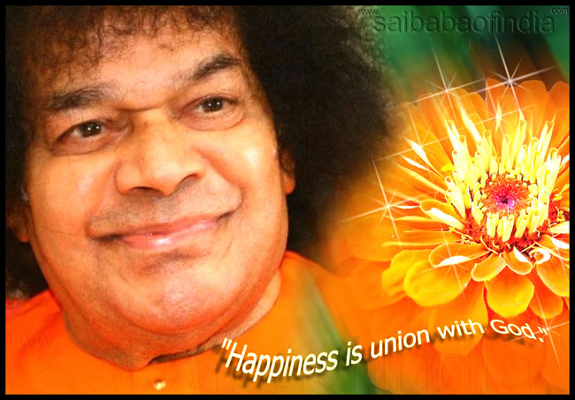 HAPPINES IS UNION WITH GOD - SRI SATHYA SAI BABA - PHOTO OF SAI BABA SMILING