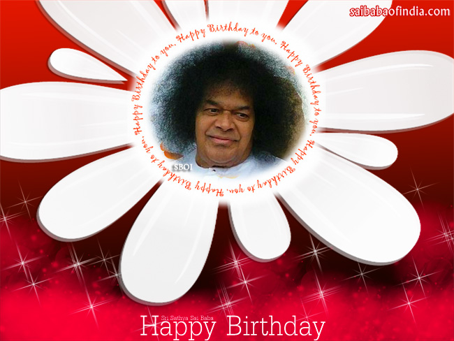 Sri Sathya Sai Baba Happy Birthday Greeting Cards