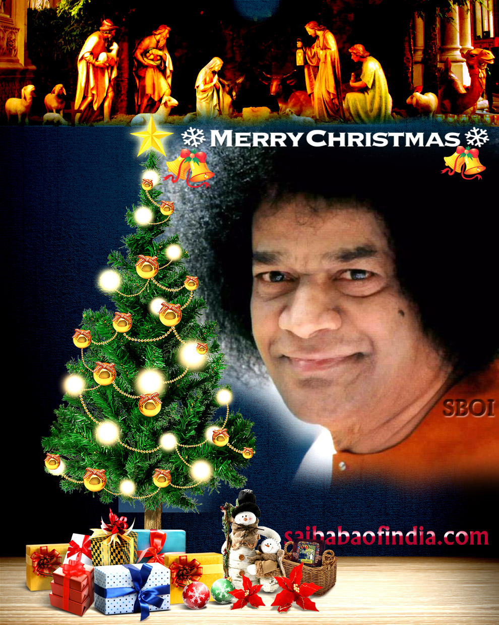 Xmas Sai Baba Greeting Cards Jesus Christ Statue At Sai Baba Ashram