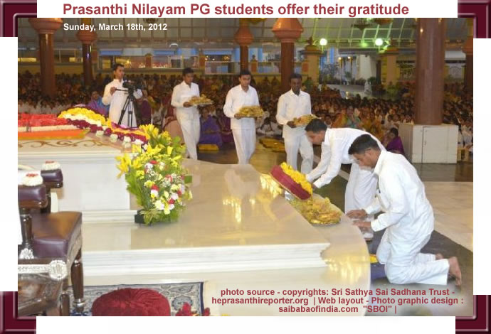 Prasanthi Nilayam PG students offer their gratitude