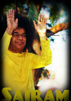 sri sathya sai baba yellow robe blessing with both hands