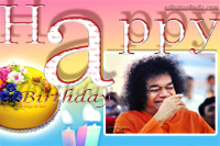 Sri Sathya Sai Baba's Birthday Prasanthi Nilayam - cake candles Sai Baba very Happy ,laughing