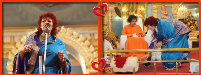 At the end of the forty minute programme, as a token of Divine appreciation, Bhagawan presented a beautiful memento, a replica of a Phoenix bird, to Ms. Gillespie. (The Phoenix is a mythical sacred firebird that can be found in the mythologies of the Persians, Greeks, Romans, Egyptians, Chinese etc.)