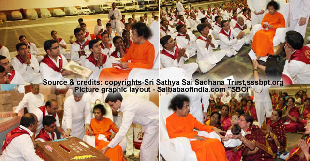 Bhagawan arrived at the auditorium just after 1900 hrs. and was welcomed with Poornakumbham and Vedam chanting.