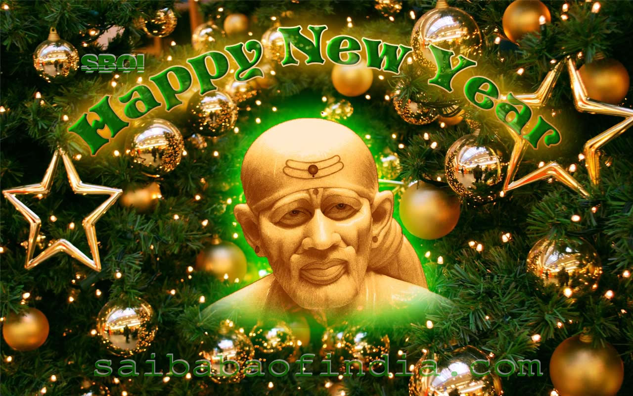 Free Download Shirdi Sai Baba Design New Year Greeeting Cards