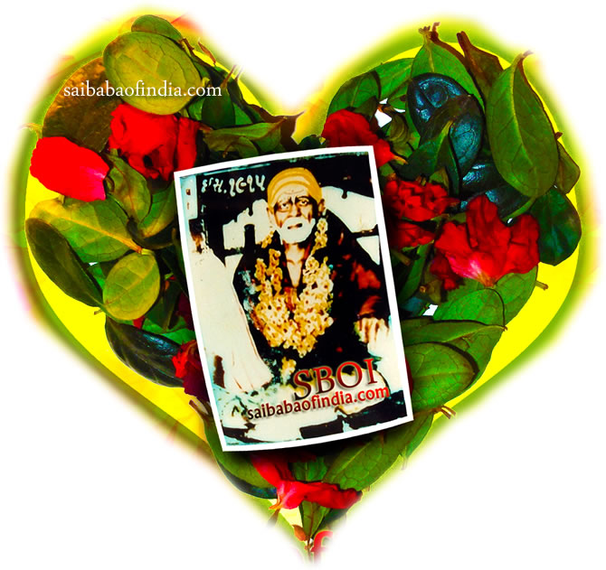 (Original Photo of Shirdi Sai Baba in colour inside the Heart )