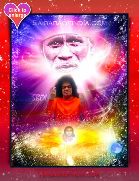SRI SATHYA SAI BABA WITH  SHIRDI SAI BABA AND PREMA SAI BABA  THE TRIPLE INCARNATION OF SRI SAI BABA - UNIVERSE OF SAI