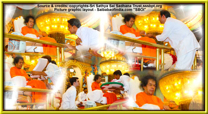 "Mon, Jan 10, 2011: This evening's 'session' with The Lord"" began with Bhagawan's entry at 1835 hrs. Coming on to the dais after a full round of darshan Bhagawan spent an hour presiding over the bhajan session."