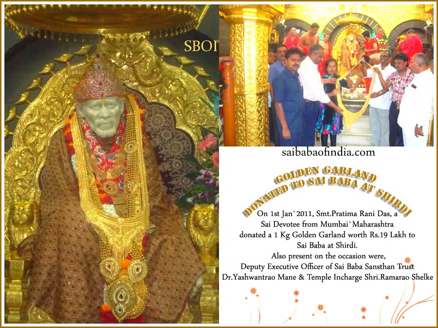 GOLDEN GARLAND DONATED TO SAI BABA AT SHIRDI