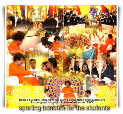 Sat, Jan 15, 2011: Today was the day of sporting honours for the students. Deviating from the customary practice over the years, Bhagawan chose this day to honour sporting heroics of His students, in the valedictory function of the Annual Sports and Cultural Festival held in the Sai Kulwant Hall this evening.