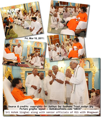 A group of veteran leaders belonging to the RSS (Rashtriya Swayam Sevak Sangh) led by veteran VHP leader Ashok Singhal welcomed Bhagawan as He alighted from His car.