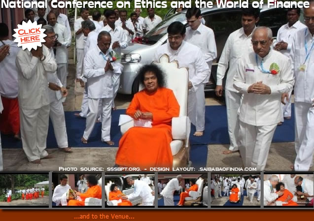 Swami out of His immense mercy paid a visit to the Institute auditorium this morning just before 10am to preside over the Ethics and World of Finance conference.