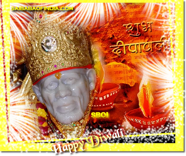 Sai Baba theme Diwali Greeting cards AND WALLPAPER - HAPPY DIWALI