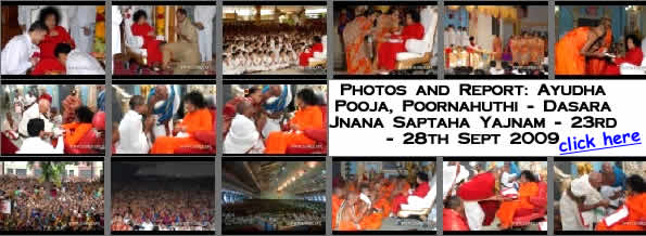 Sai Baba Darshan News & Latest Photo Updates - Ayudha Pooja, Poornahuthi - Dasara Jnana Saptaha Yajnam - 23rd - 28th Sept 2009
