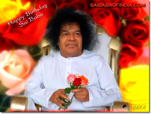 SAI- BABA IN WHITE- ROBE- 83RD BIRTHDAY