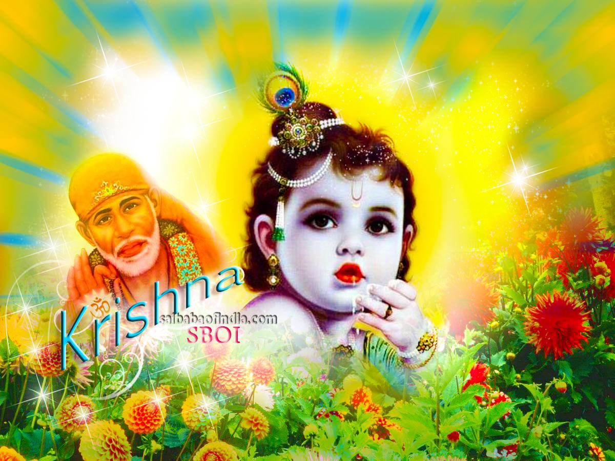 krishna janmashtami - shirdi sai baba greeting cards