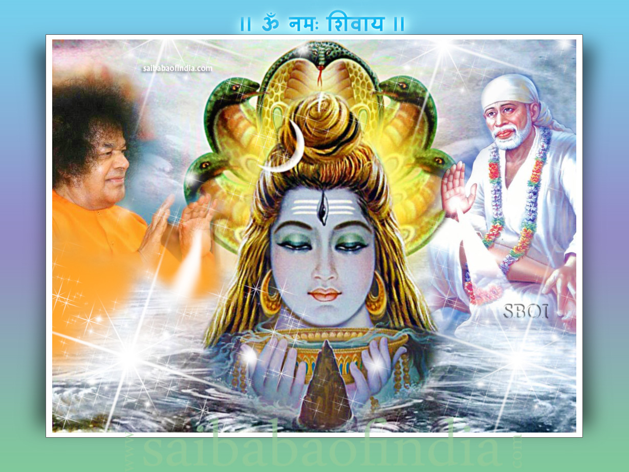 Shivaratri Sai Baba Theme Greeting Cards Wallpapers